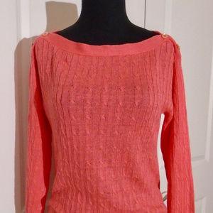 J CREW Boatneck Linen Cableknit Sweater M Papaya